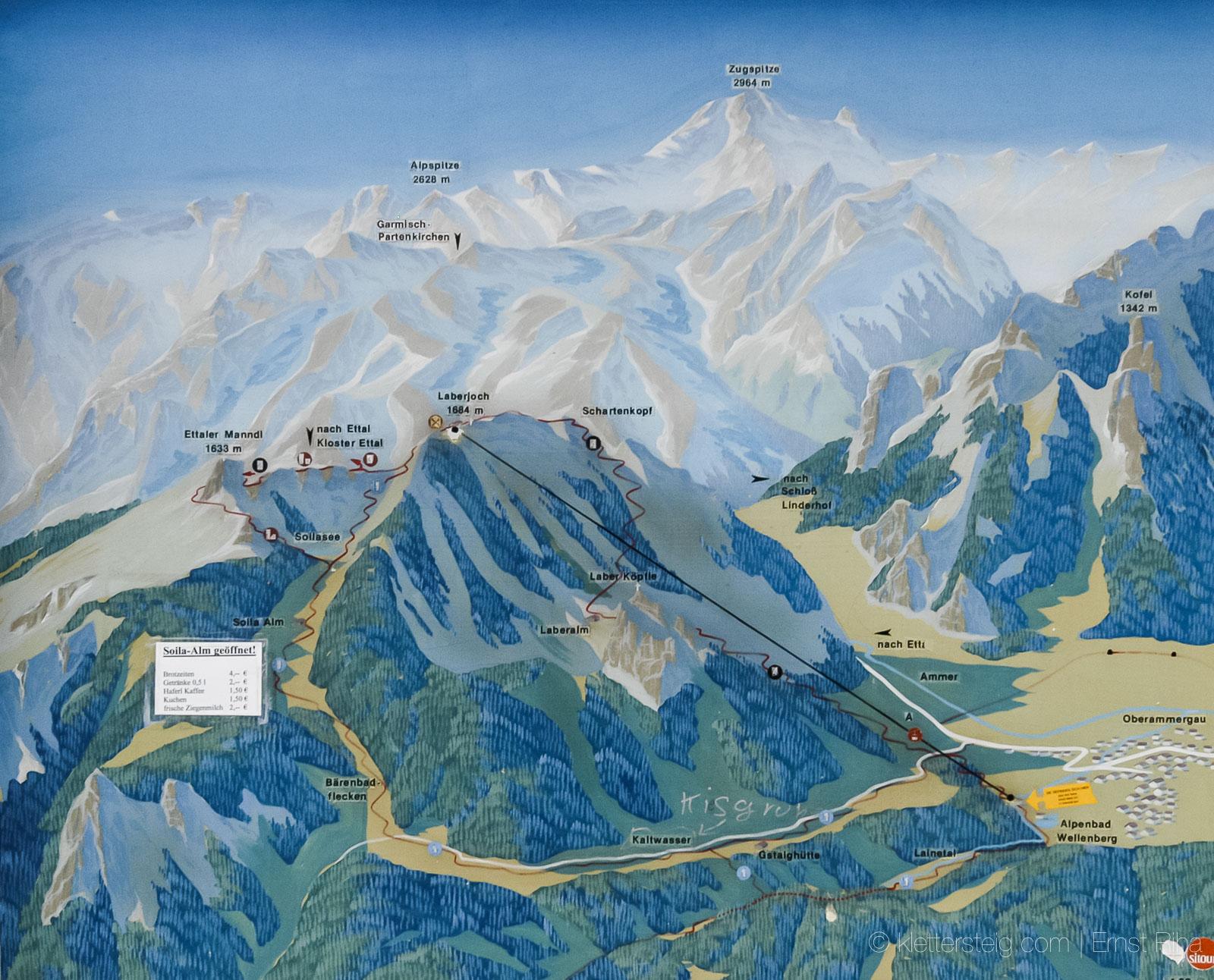Klettersteig Am Ettaler Mandl : Orientierung topo ettaler manndl